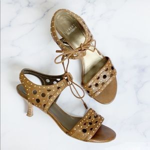 Stuart Weitzman Boho Riveted Cut Out Kitten Heels